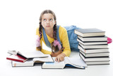 clever teenager girl lay with books poster