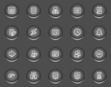 Database web icons, metal circle buttons series poster