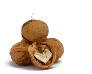 Walnut with a kernel in the form of heart