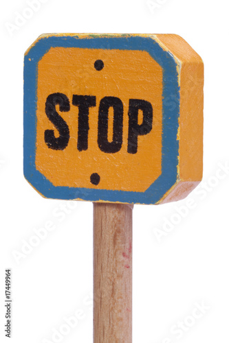 Yellow Stop Signal Sign angled