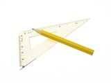 Set square with pencil