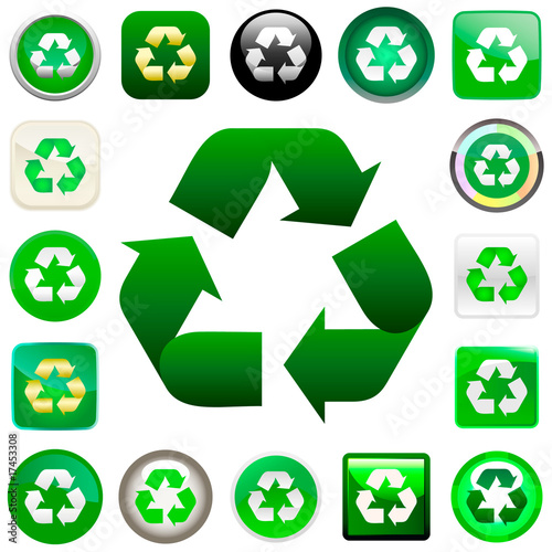 Recycle symbol button. Big vector set.
