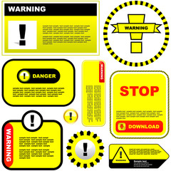 Warning vector label. Vector template.