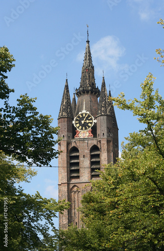 Old leaning Delft Church tower