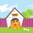 roleta: Dog sleeping in dog house. Vector Illustration.