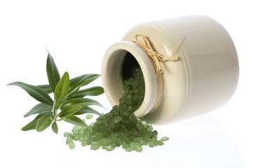 fresh olive branch and bath salt. spa
