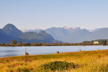 pitt river with mountain in background