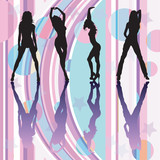 Dancing girls silhouettes on discoteque atmosphere poster