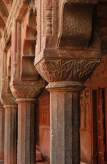 Carved columns in the Akbar's Tomb temple, Sikandra, India