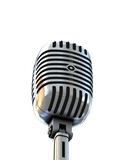 retro microphone on white background