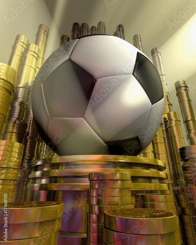 soccer ball on pedestal and money