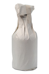 Paper bag with bottle isolated against white background