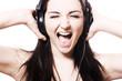 Girl singing with headphones