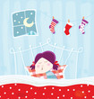 roleta: Sleeping child during christmas night. Vector Illustration.
