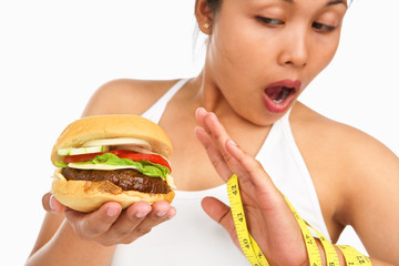 Female avoiding burger