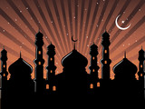 abstract ramadan background with mosque poster