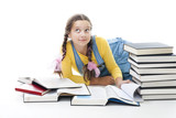 Clever teenager girl with books poster