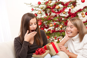 Two women unpacking Christmas present