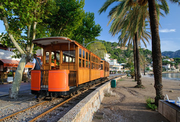 Straßenbahn in Port de Soller auf Mallorca