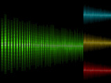 Abstract waveform vector background in four color schemes. poster