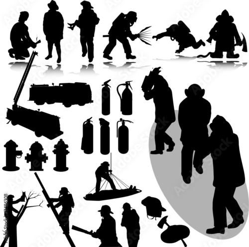 firefighters vector silhouettes