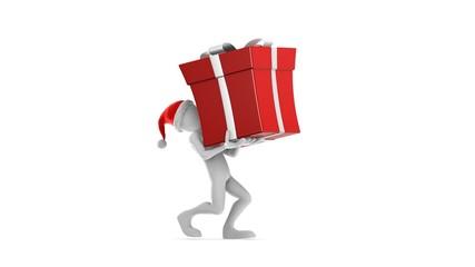 Santa Claus Carrying Gift. (HD + Alpha)