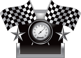 Racing checkered flags and speedometer on silver star frame