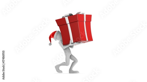 Santa Claus Carrying Gift. (HD + Alpha)