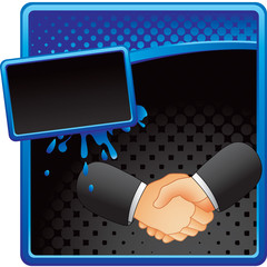 Business handshake on blue and black halftone banner