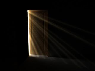 light and dark. open mystery door