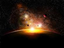 Espace et avec planety constelatin