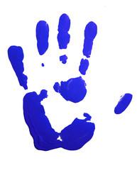 Blue hand-print