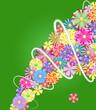 flores con fondo verde