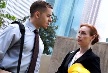 Business people conversation downtown city tilted view