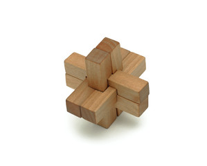 Wooden logical toy, isolated