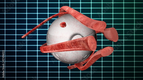 Human Eye rotating EKG background,alpha channel