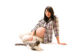 Pregnant woman with cat