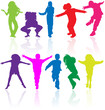 Set of colored active children vector silhouettes.