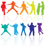 Fototapety 00Set of colored dancing, jumping and posing teenagers vector.