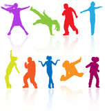 Fototapety Set of colored dancing, jumping and posing teenagers vector.