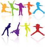Fototapety Set of colored active children vector silhouettes.