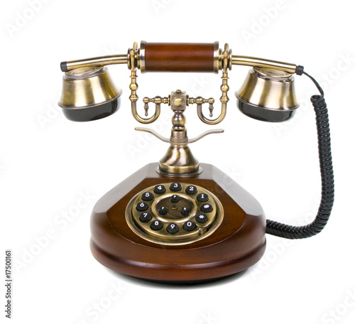 stylish vintage phone over white background