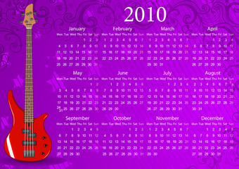 European calendar with bass guitar