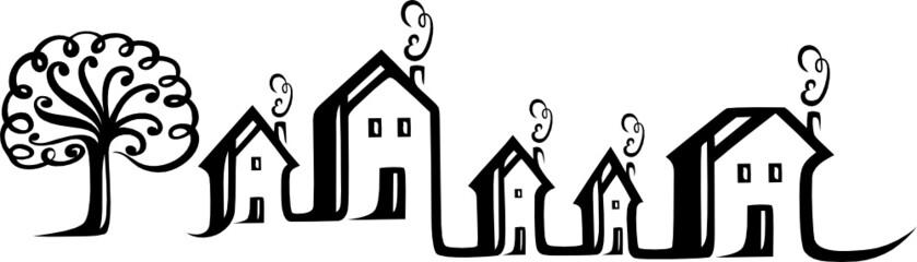 Immobilien, Haus, Häuser Silhouette, Logo