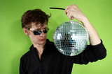 young man with a discoball poster