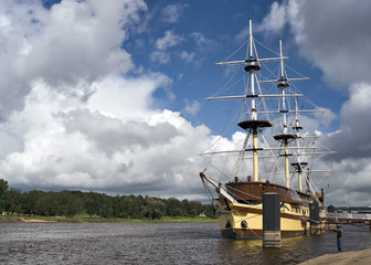 The ship in river water