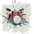 Leinwanddruck Bild - Drum kit on grunge background