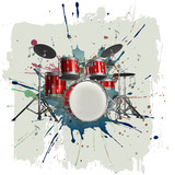 Fototapety Drum kit on grunge background