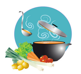 soupe fumante dans marmite et légumes sur rond bleu