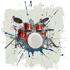 Drum kit on grunge background